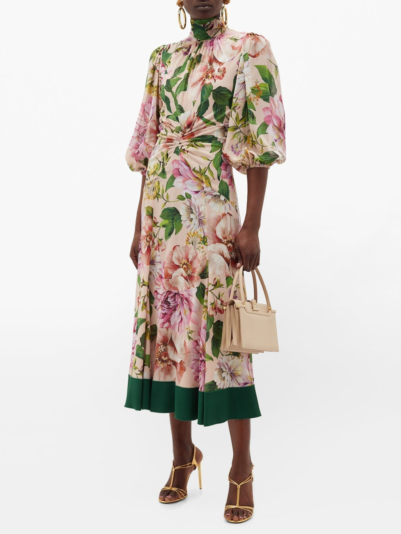 DOLCE & GABBANA Peony-Print Silk-Blend Georgette Midi Dress
