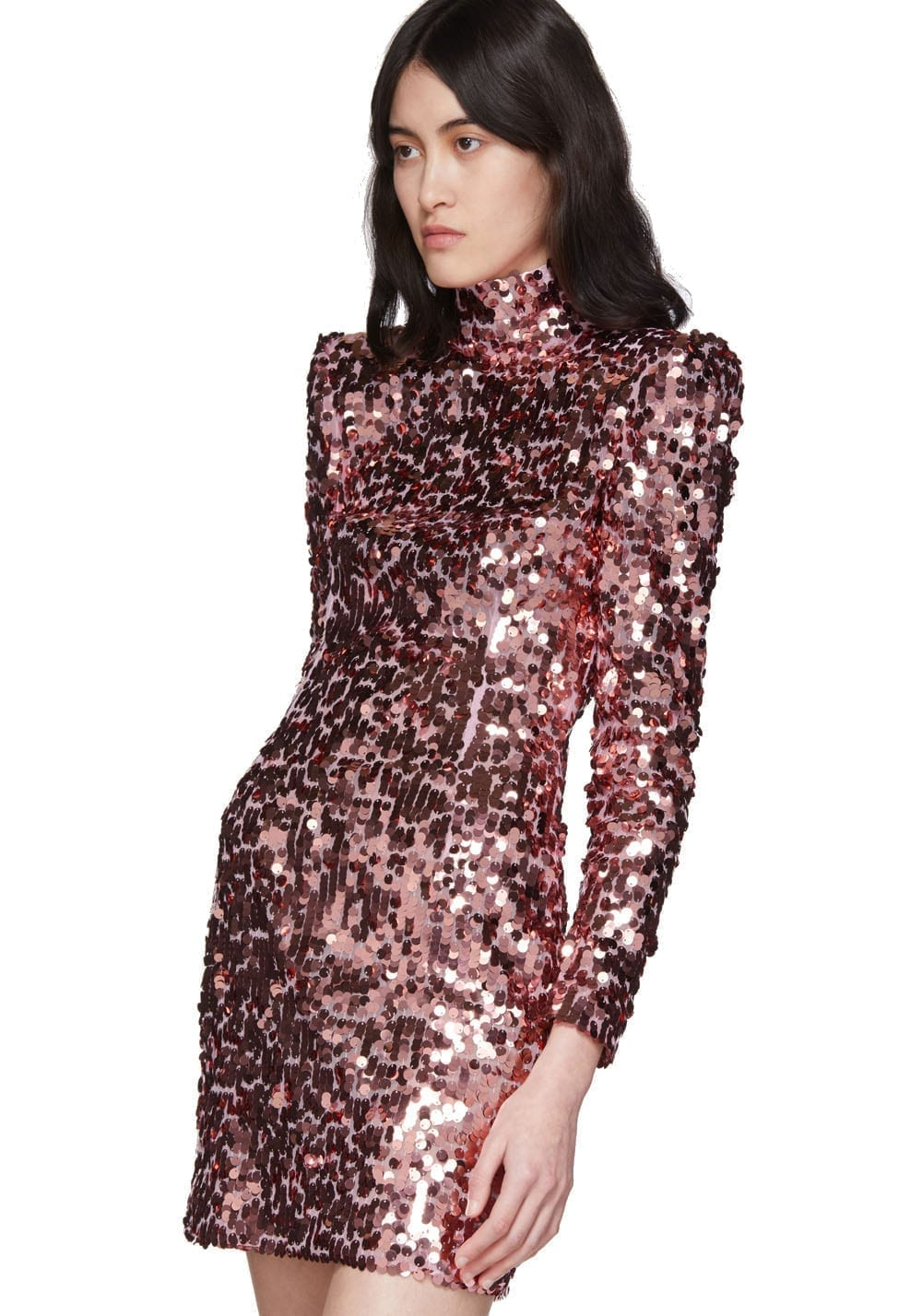 DOLCE & GABBANA Pink Spangle Turtleneck Dress