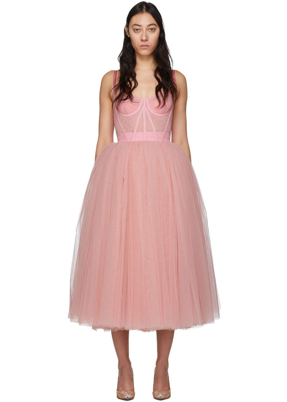 DOLCE & GABBANA Pink Tulle Bustier Dress