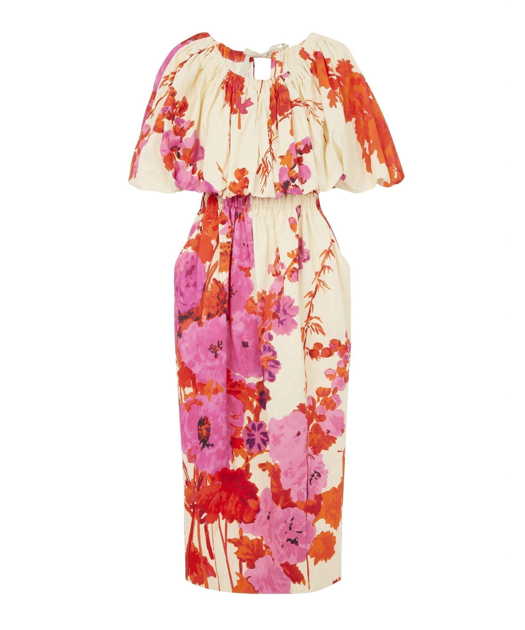 DRIES VAN NOTEN Cotton Floral Ankle-Length Dress