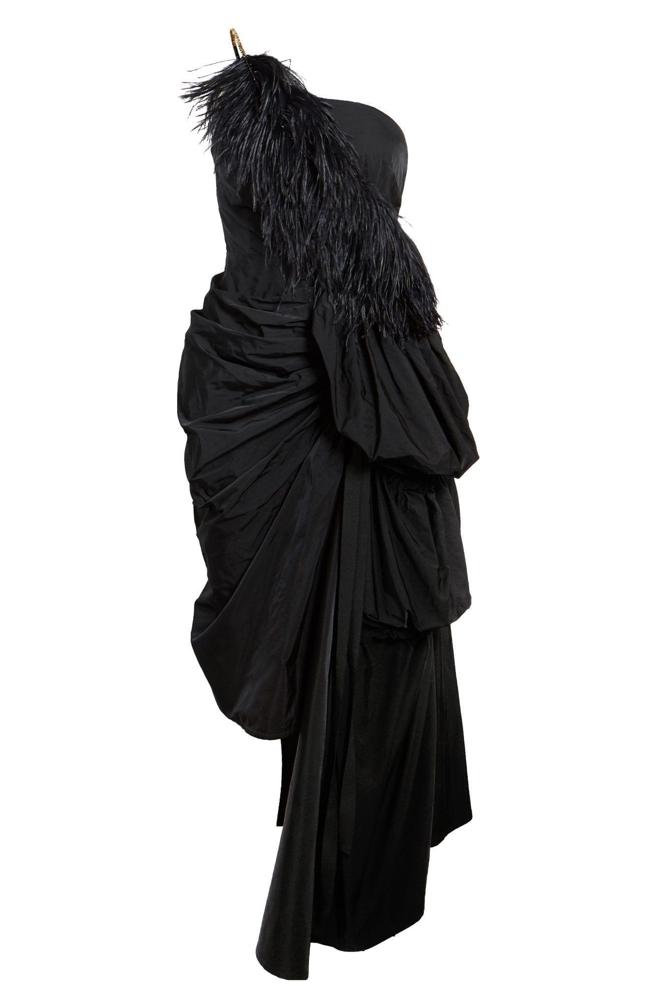 DRIES VAN NOTEN Dires Van Noten Ditomi Feather Trim Asymmetrical One-Shoulder Taffeta Dress