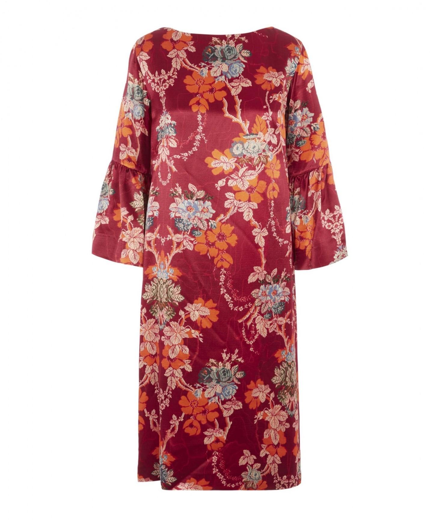 DRIES VAN NOTEN Floral Silk-Satin Midi-Dress