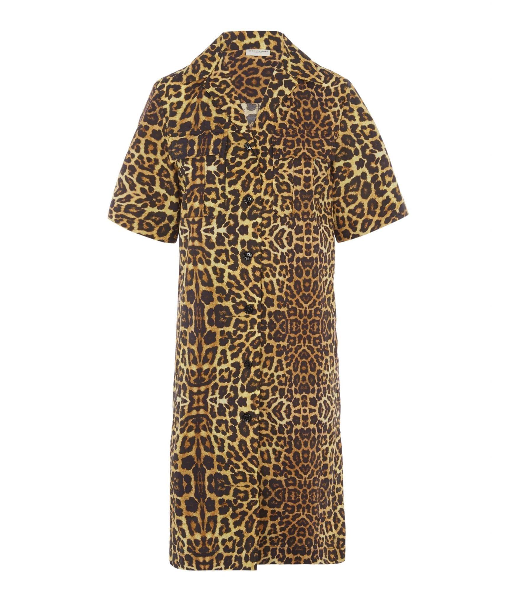 DRIES VAN NOTEN Leopard Print Shirt Dress