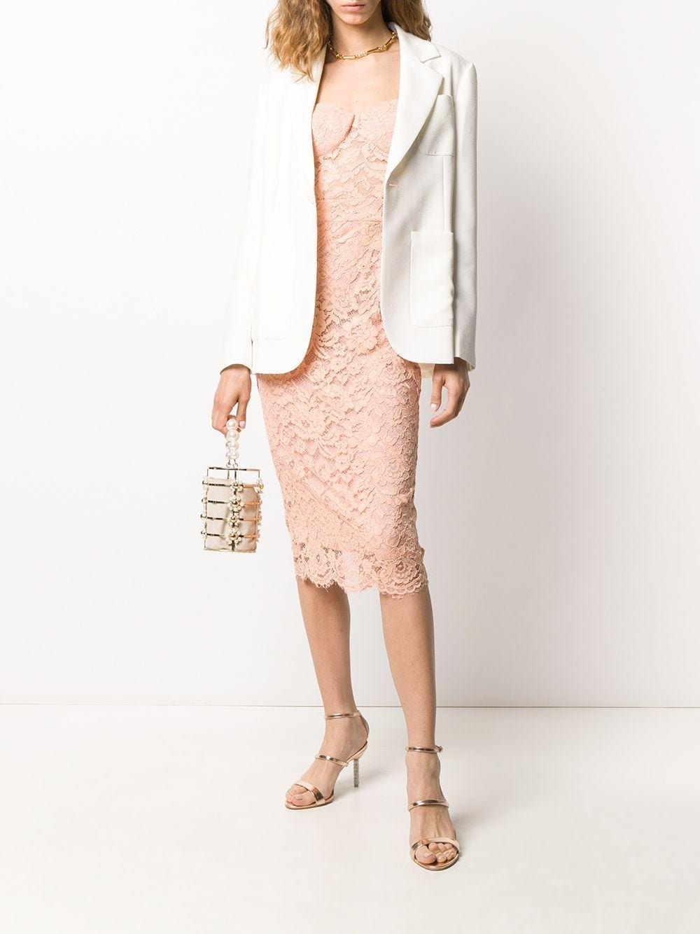ELISABETTA FRANCHI Lace Sleeveless Midi Dress