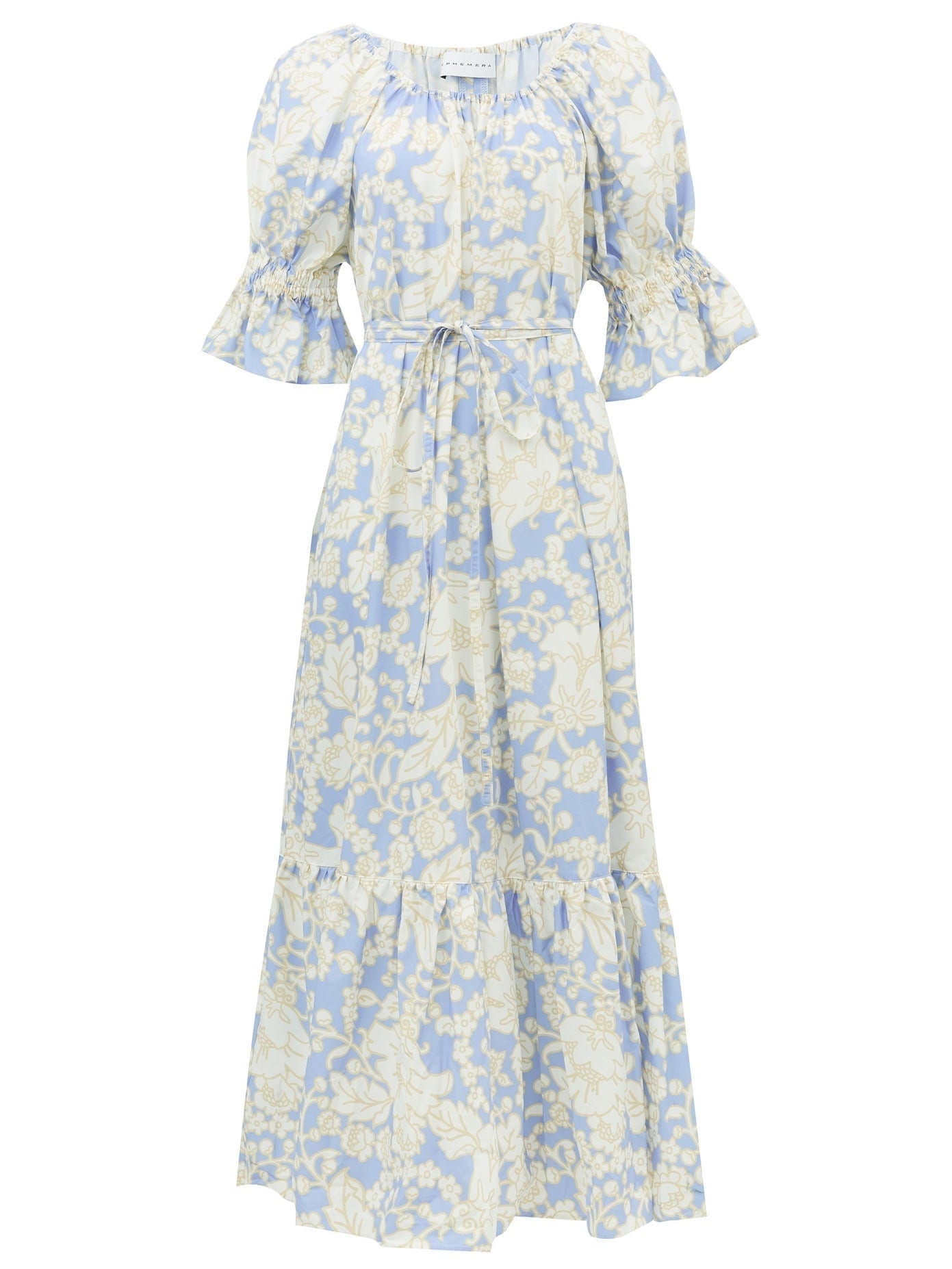 EPHEMERA Malibu Waist-tie Floral-print Cotton Maxi Dress
