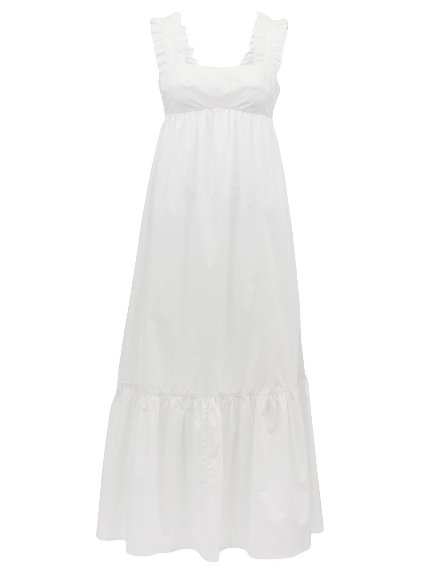 EPHEMERA Ruffled-strap Cotton-poplin Midi Dress