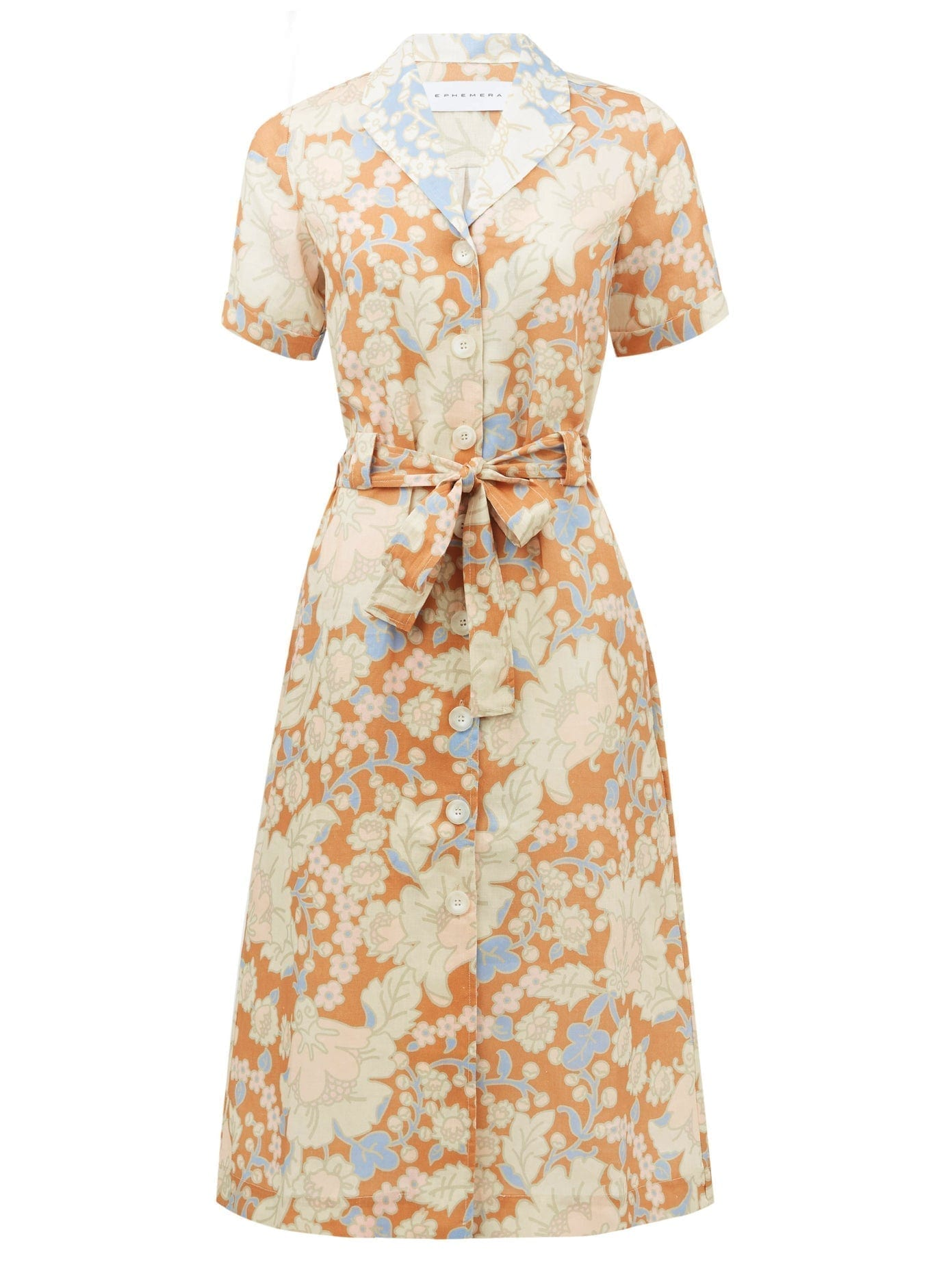 EPHEMERA Spliced Floral-print Linen Shirt Dress