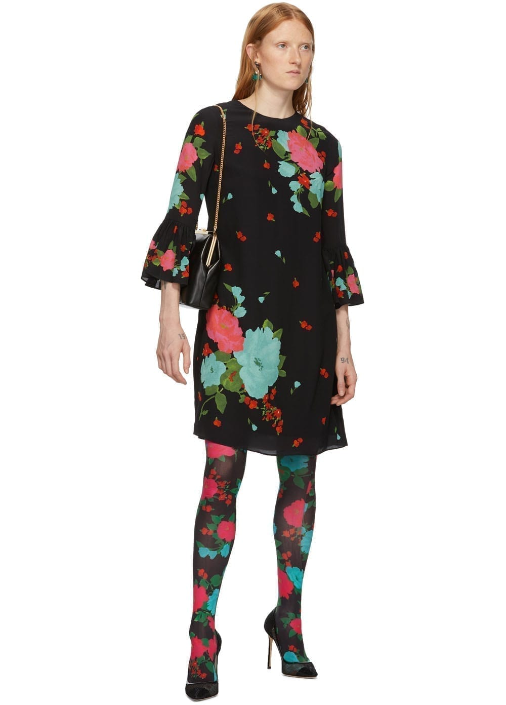 ERDEM Black & Pink Elijah Dress