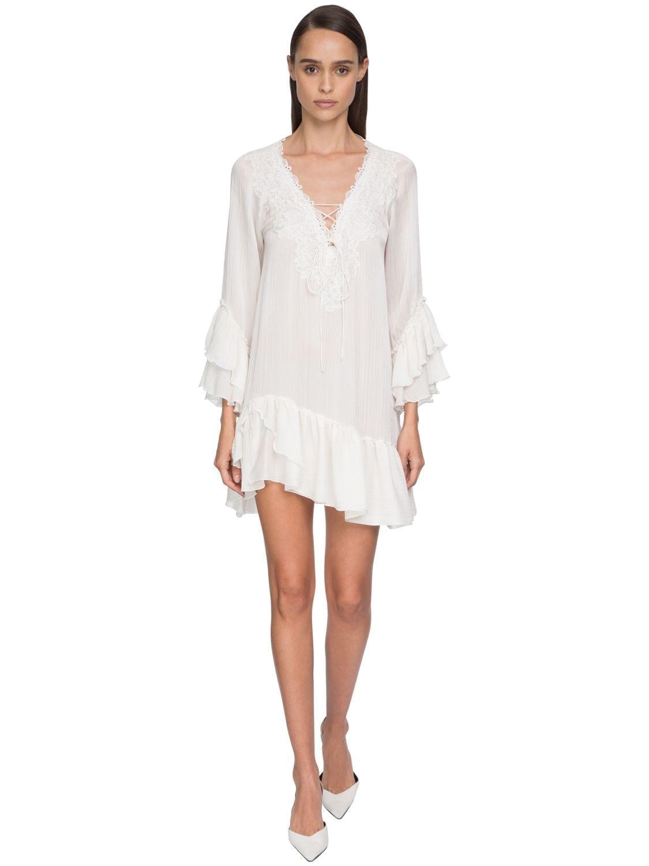 ERMANNO SCERVINO Ruffled Muslin & Lace Mini Dress
