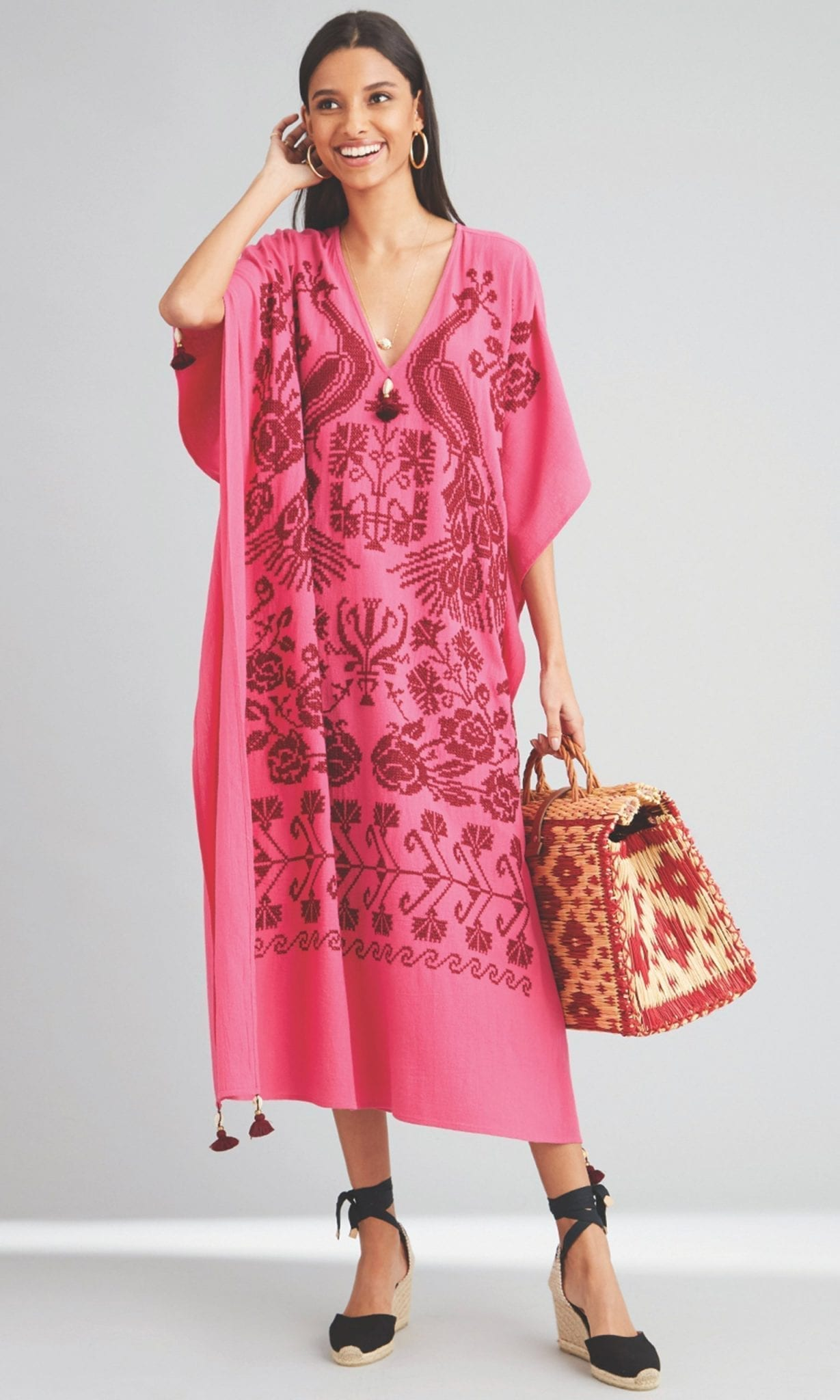 FIGUE Eliza Cotton Embroidered Caftan Dress