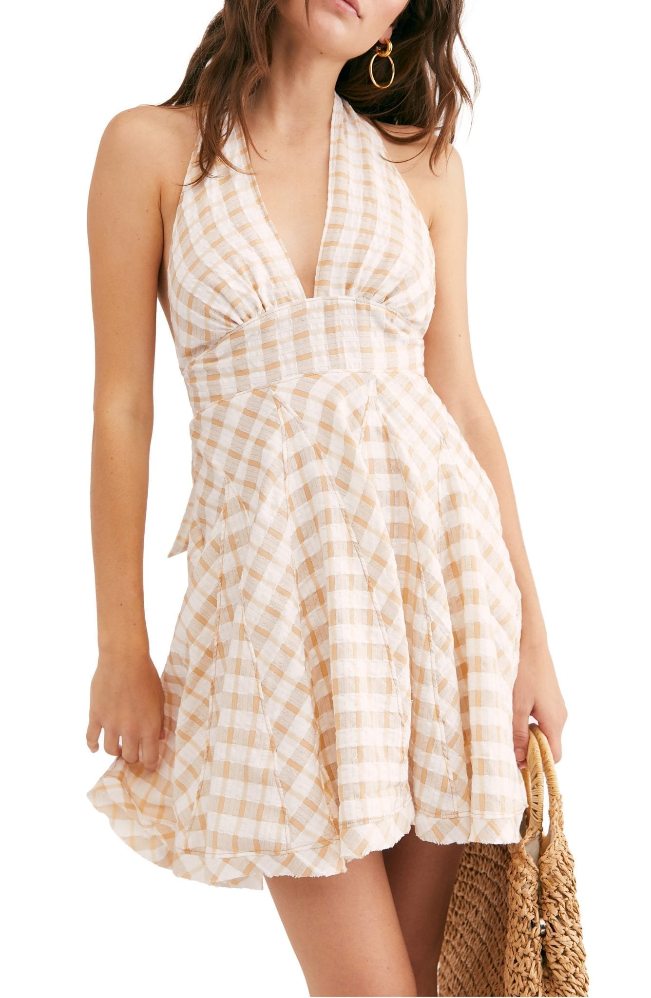 FREE PEOPLE Do the Twist Seersucker Halter Sun Dress