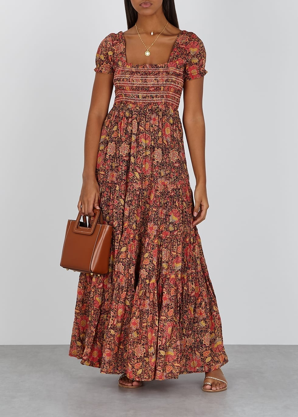 FREE PEOPLE Getaway Floral-print Cotton Maxi Dress