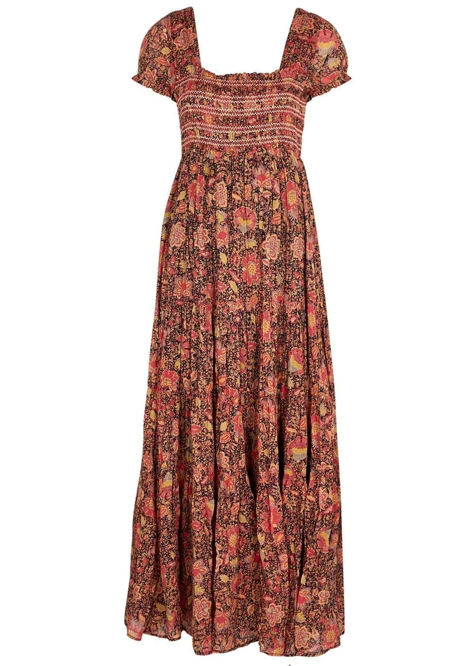 FREE PEOPLE Getaway Floral-print Cotton Maxi Dress