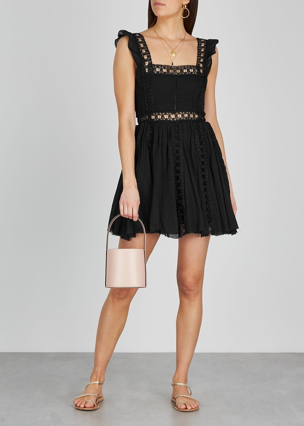 FREE PEOPLE Verona Black Cotton Mini Dress