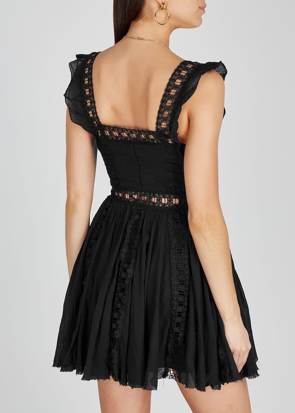 FREE PEOPLE Verona Black Cotton Mini Dress