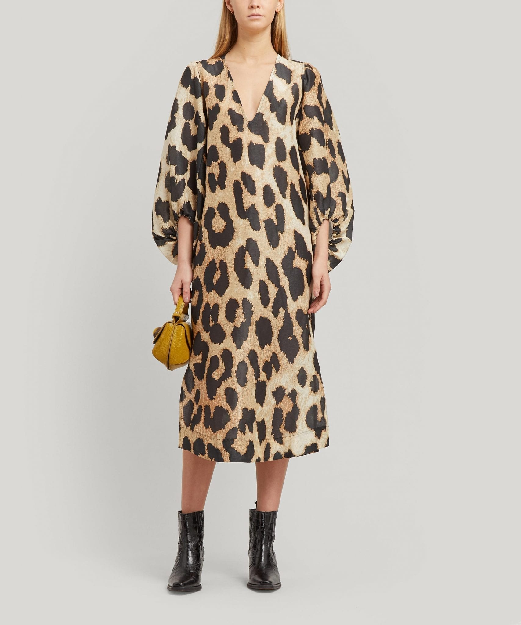 GANNI Leopard Print Silk and Linen-Blend Midi-Dress
