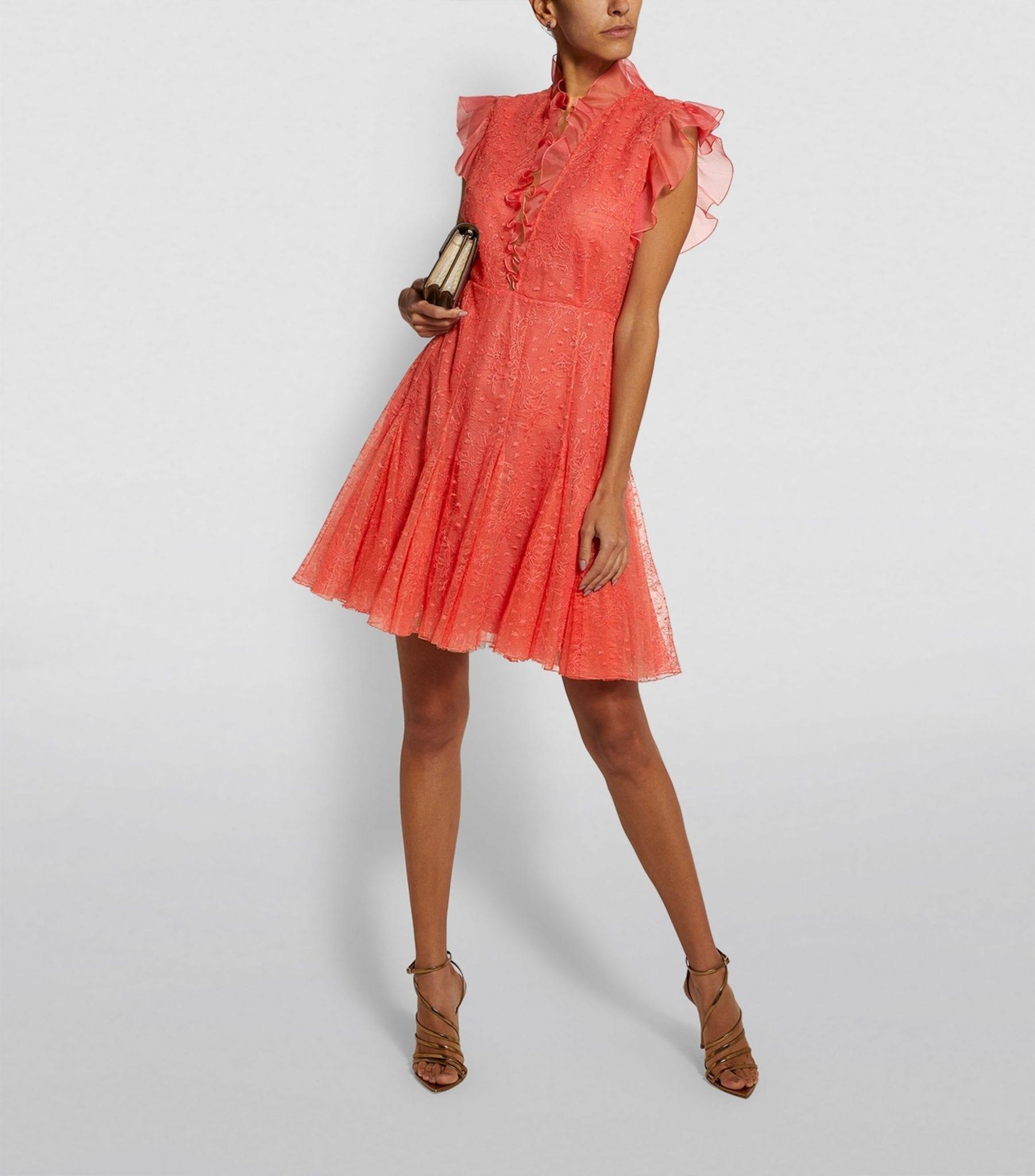 GIAMBATTISTA VALLI Floral Lace Ruffle Mini Dress