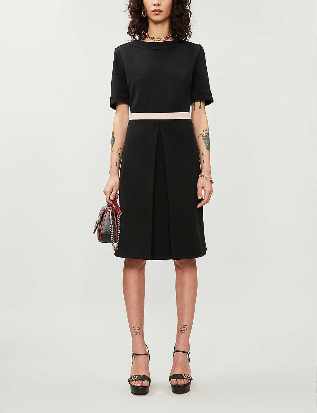 GUCCI Branded-waistband Wool-blend Mini Dress