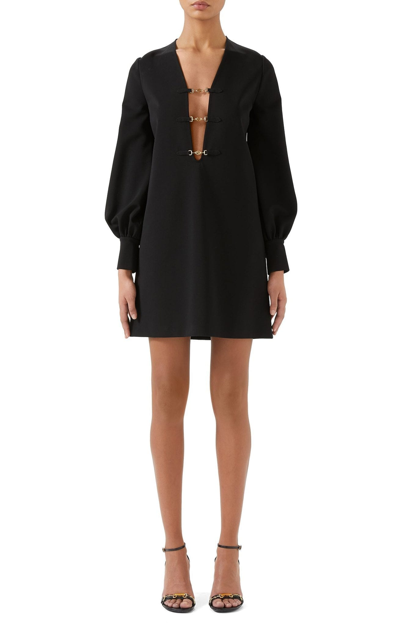 GUCCI Interlocking-G Horsebit Long Sleeve Compact Stretch Jersey Mini Dress
