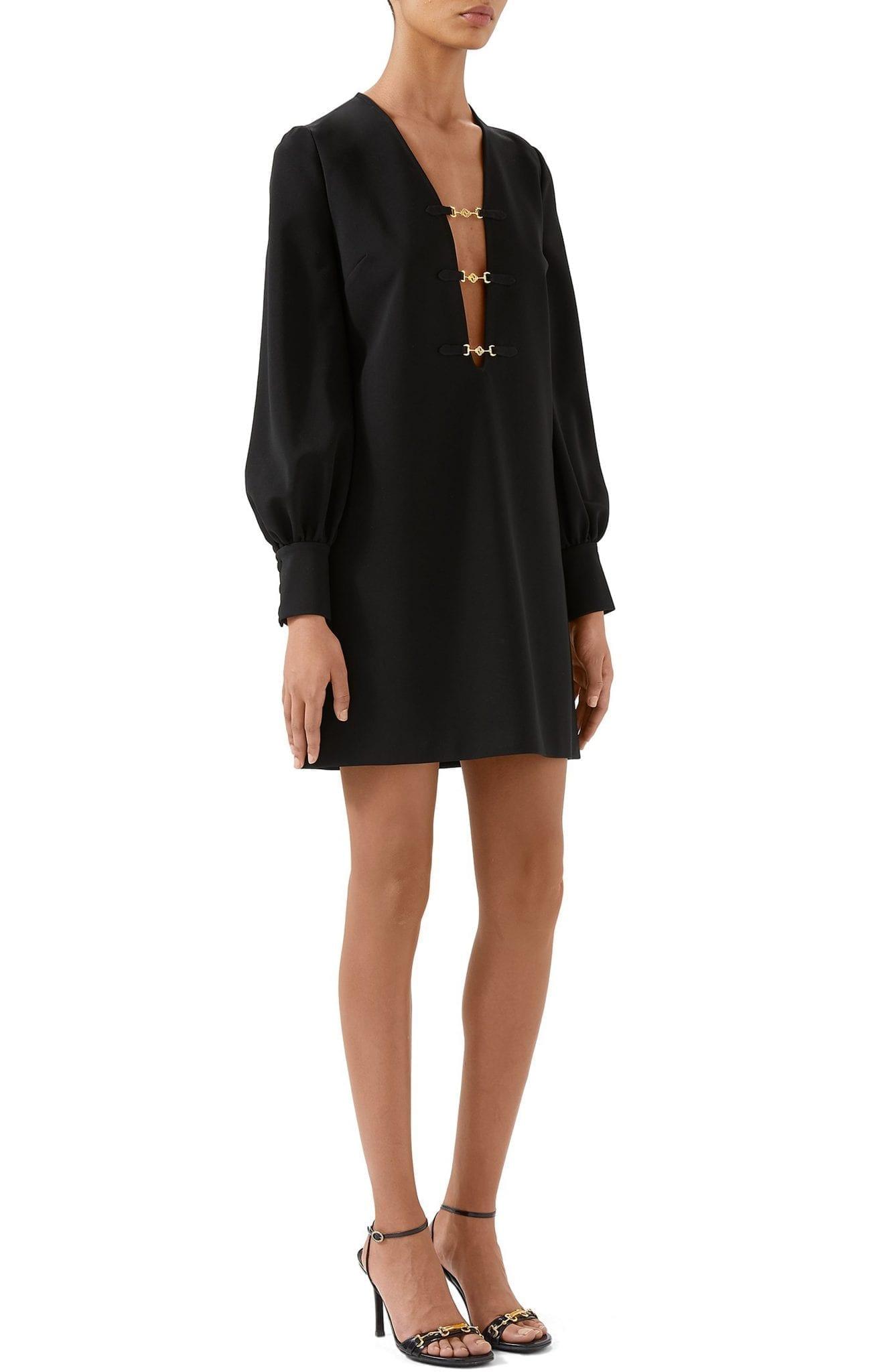GUCCI Interlocking-G Horsebit Long Sleeve Compact Stretch Jersey Mini Dress