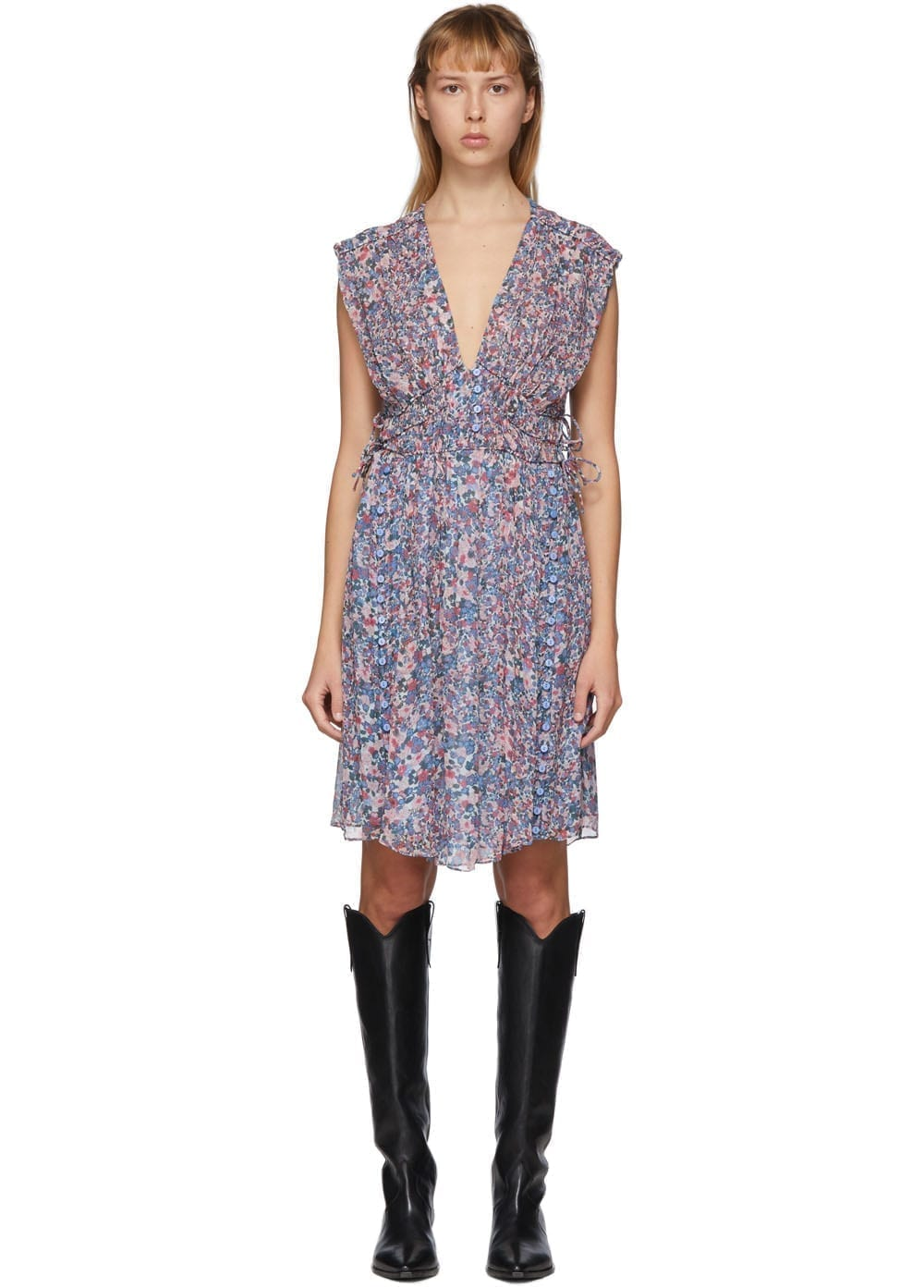 ISABEL MARANT Blue & Multicolor Oaxoli Dress