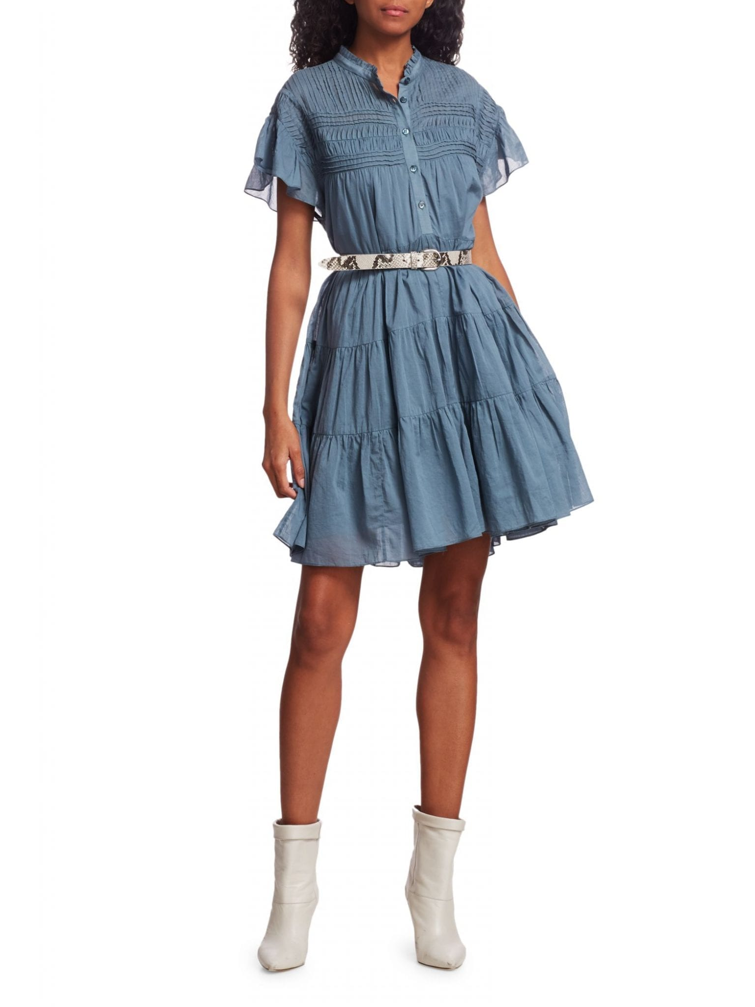 ISABEL MARANT ETOILE Lanikaye Chambray Ruffle A-line Shirt Dress