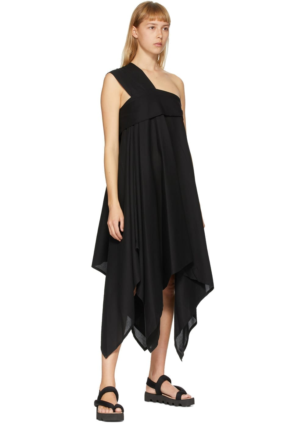 ISSEY MIYAKE Black Square Petal One-Shoulder Dress
