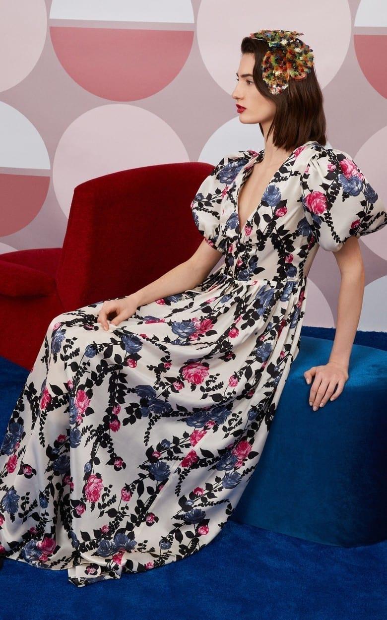 LA DOUBLEJ Persephone Floral-Print Silk Maxi Dress