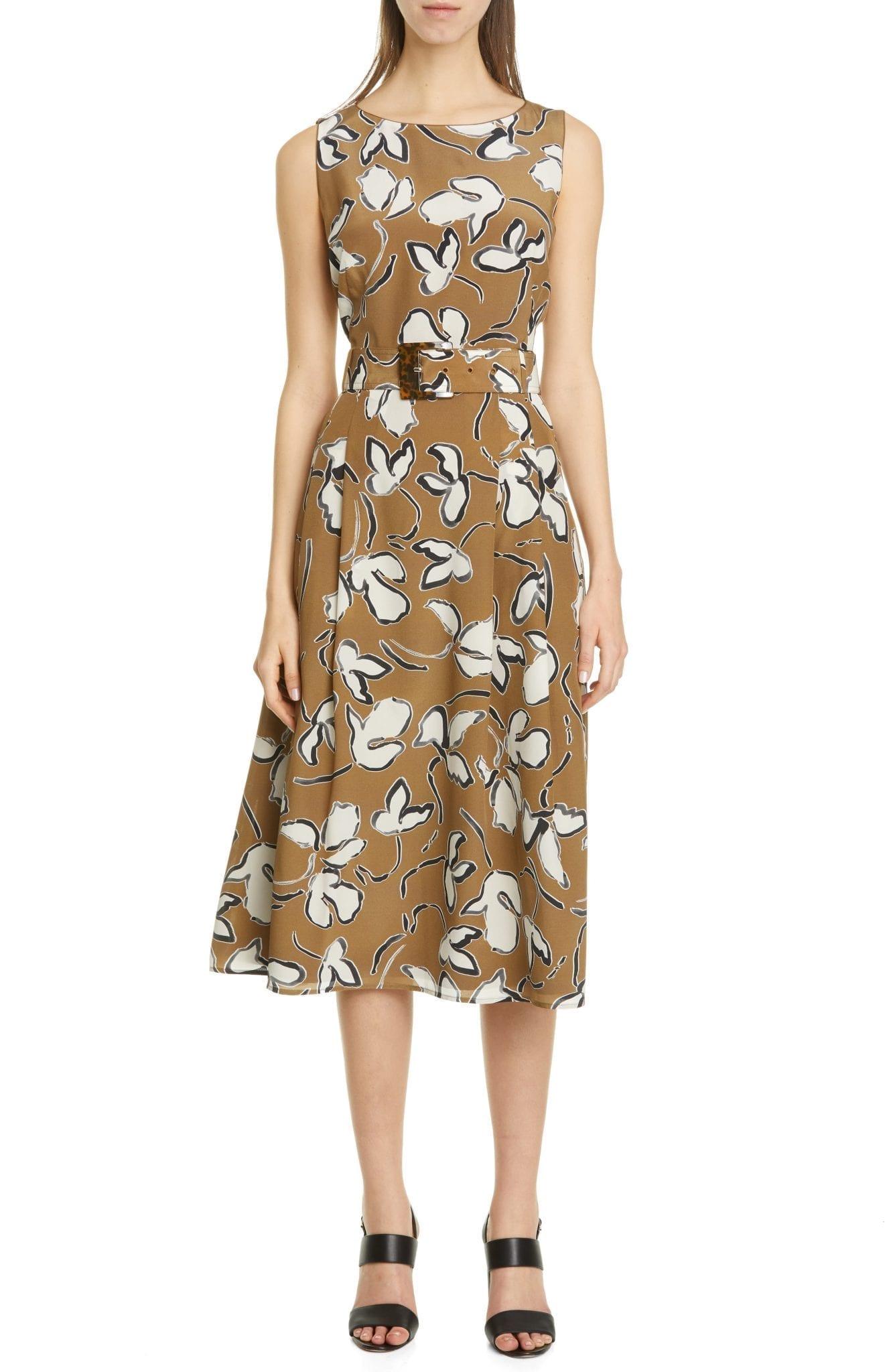 LAFAYETTE 148 NEW YORK Gracie Belted Silk Midi Dress
