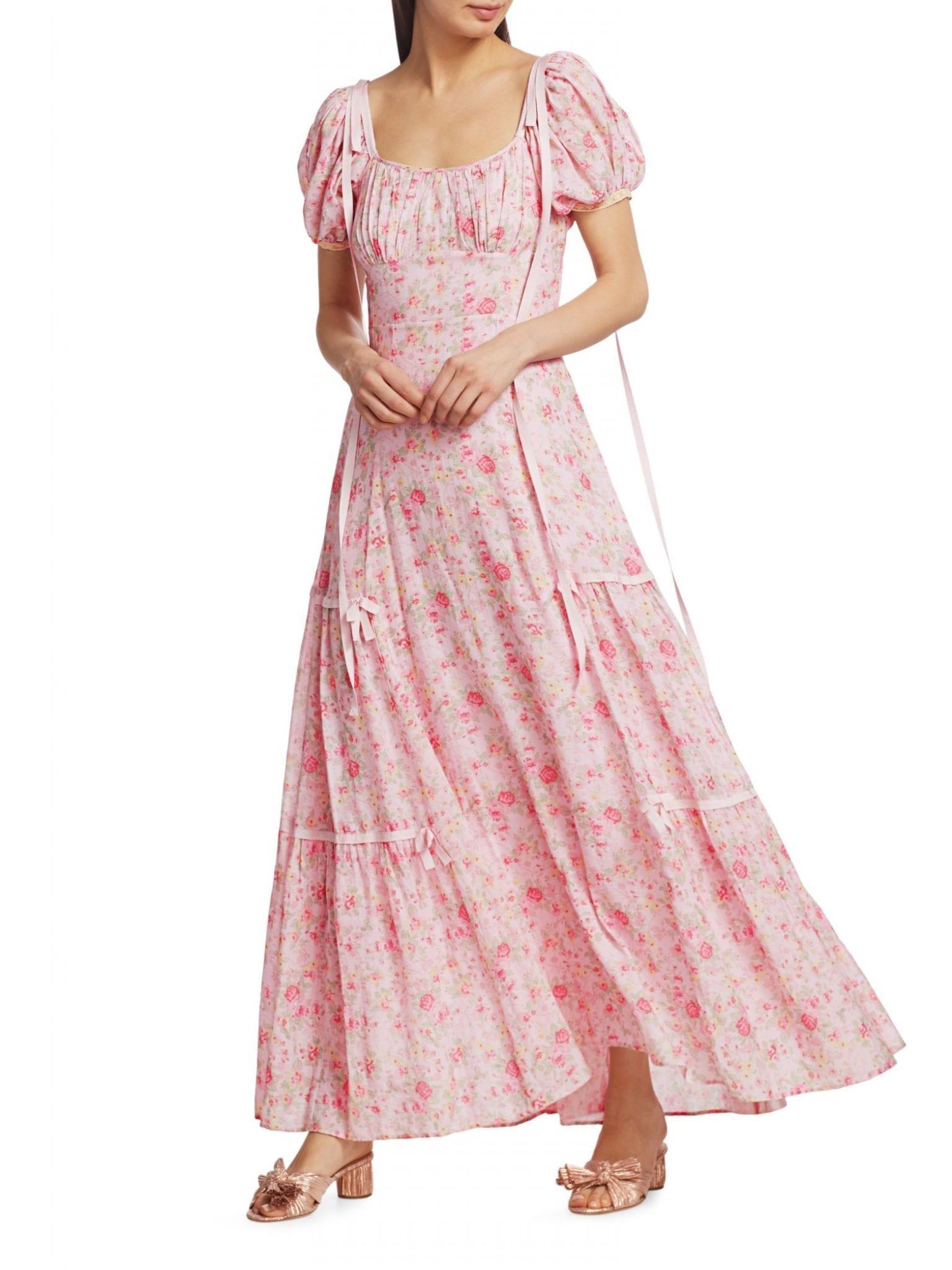 LE SUPERBE Major Flirt Metallic Stripe Floral Print Dress