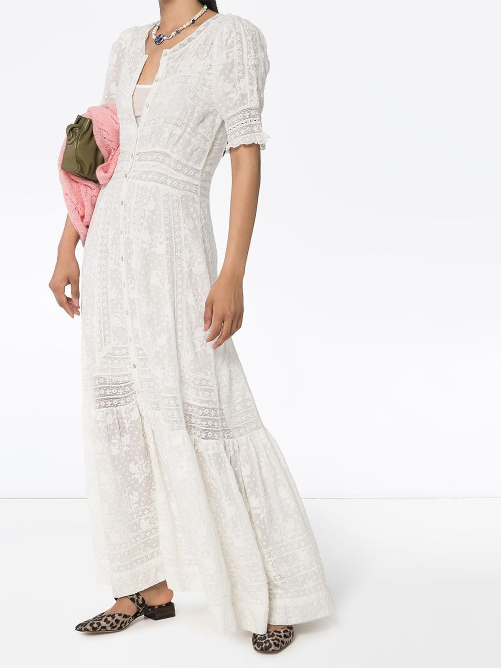 LOVESHACKFANCY Minka Embroidered Cotton Maxi Dress