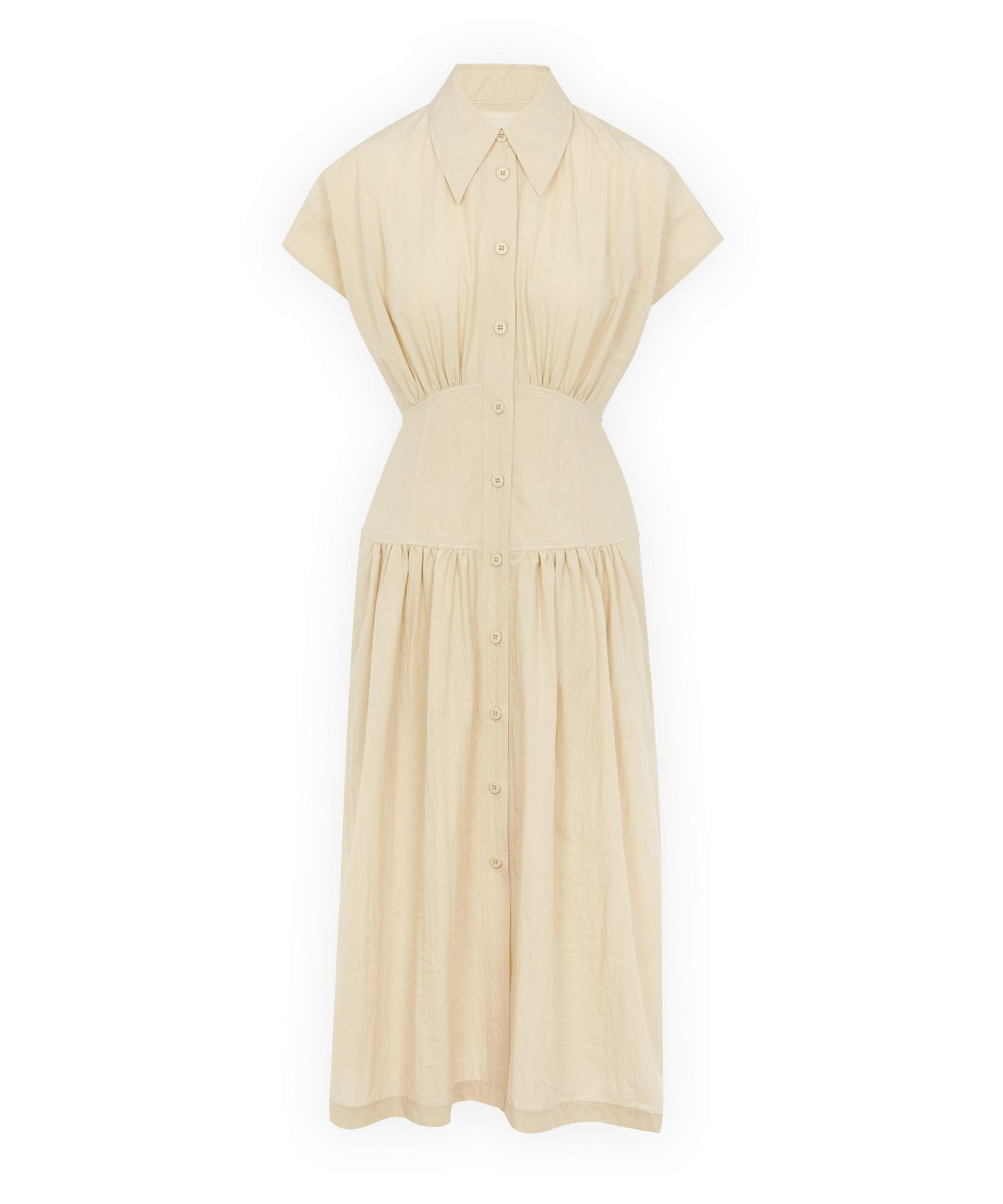 LOW CLASSIC Waist Shirring Cotton Midi-Dress