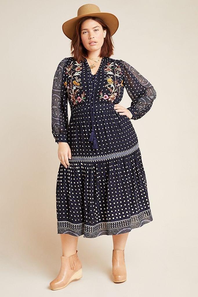 MAEVE Cassidy Embroidered Midi Dress
