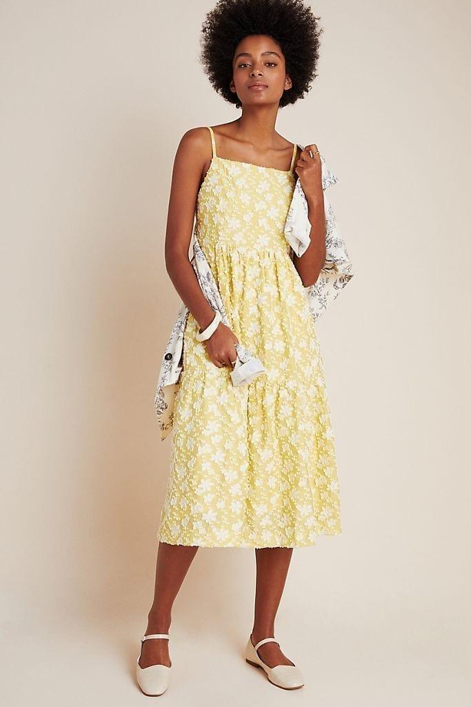 MAEVE Rhonda Textured Midi Dress