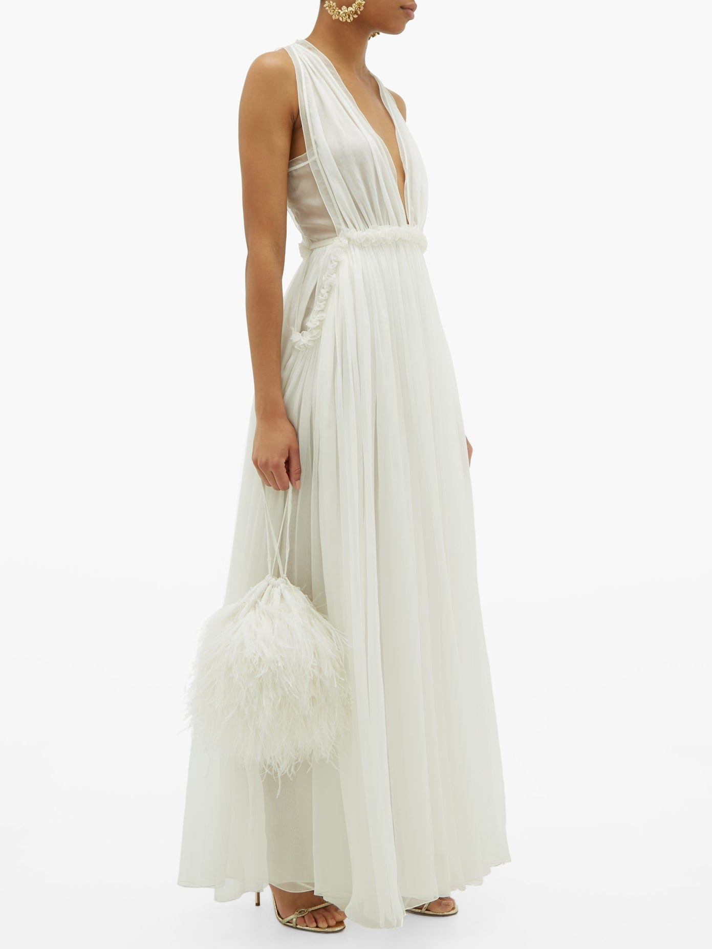 MAISON RABIH KAYROUZ Ruffled Empire-waist Silk-chiffon Gown