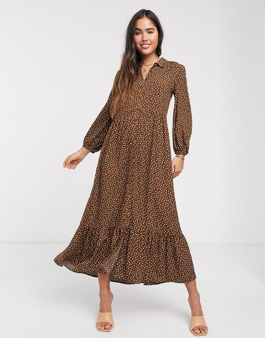 MANGO Polka Dot Shirt Dress