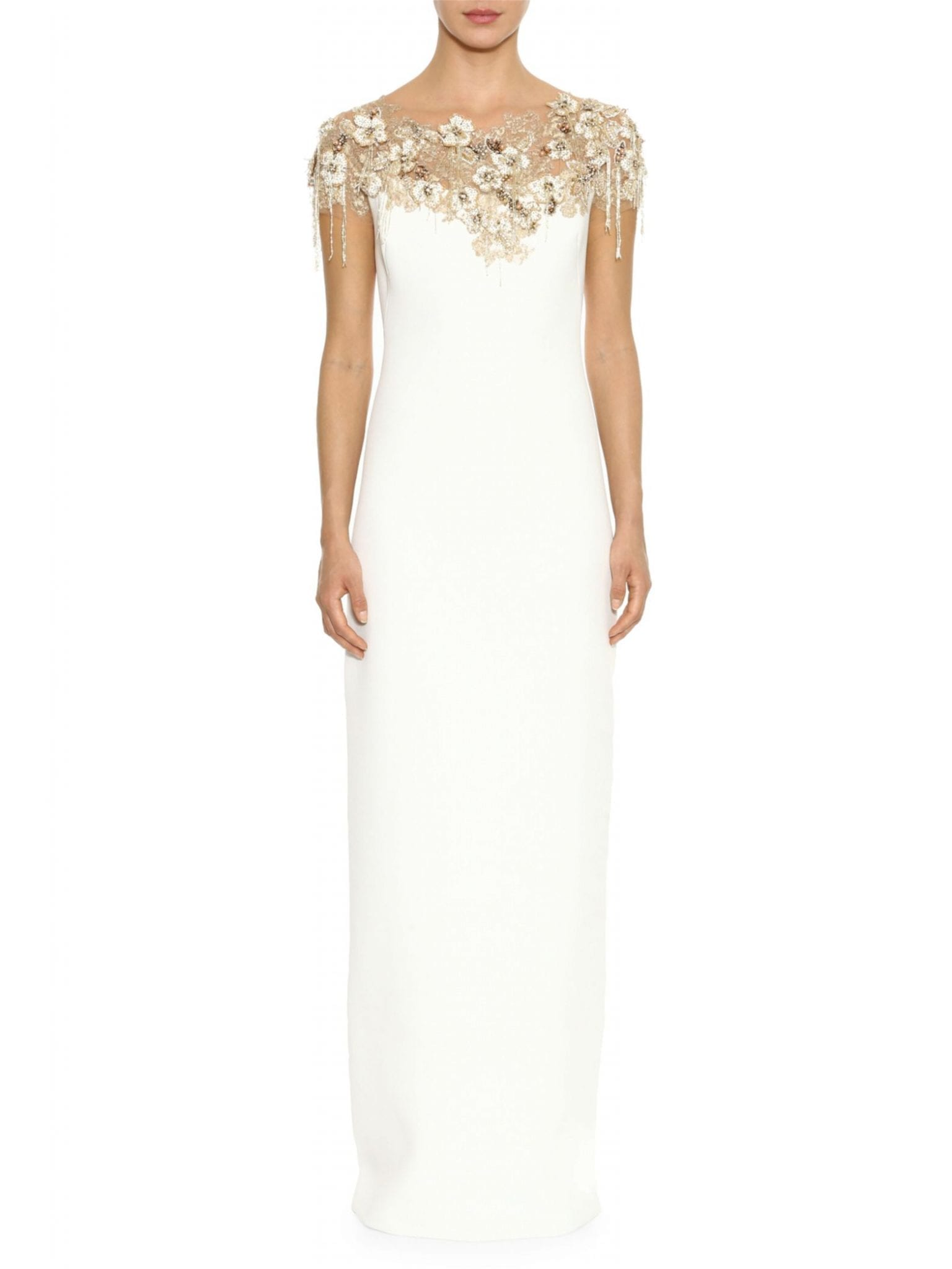 MARCHESA Beaded Crepe Illusion Column Gown
