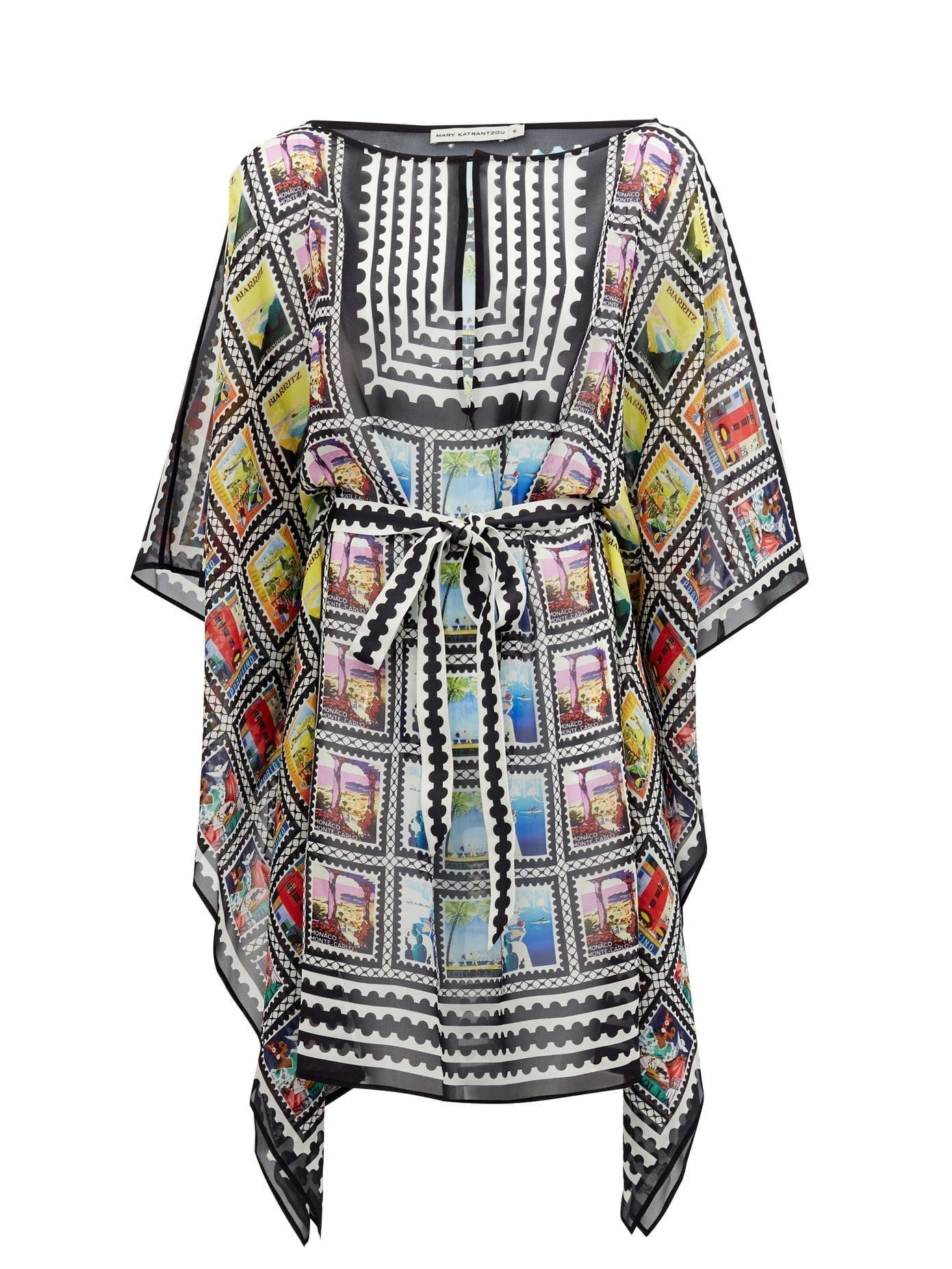MARY MARE Bali Stamp-Print Silk Kaftan Dress