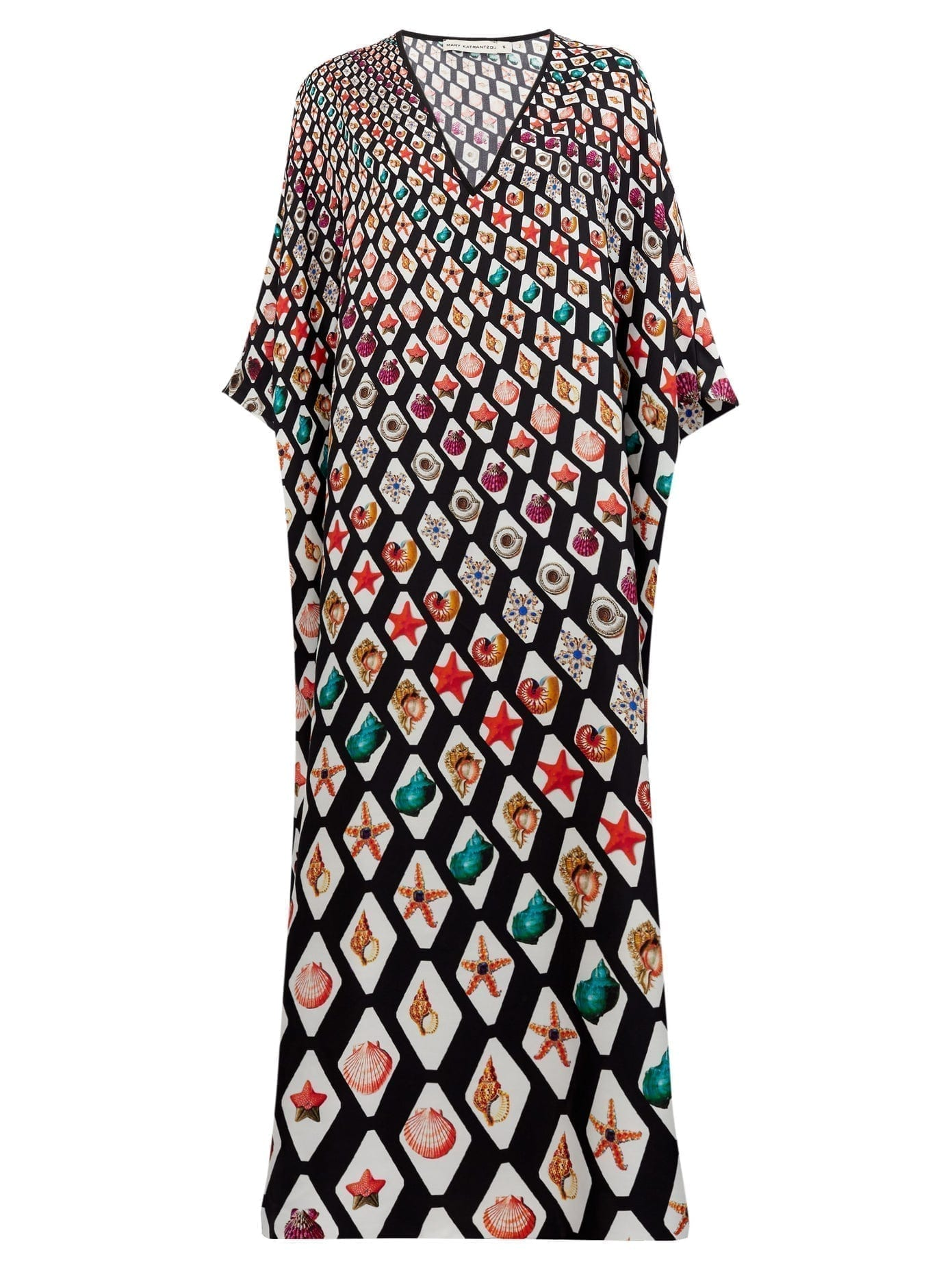 MARY MARE Kefalonia Shell-print Silk-satin Kaftan Dress