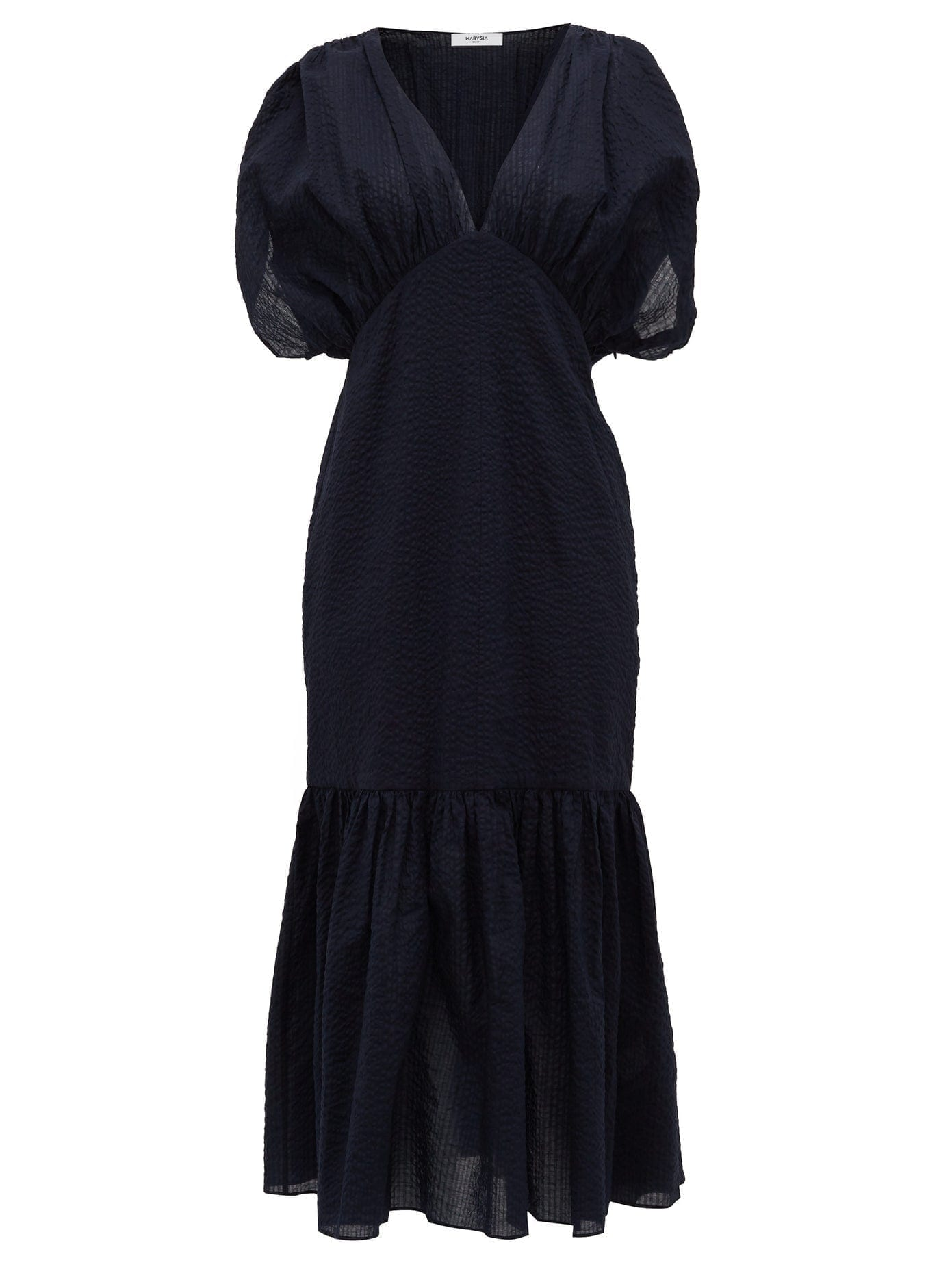 MARYSIA Monetrey Ruched Seersucker-cotton Dress