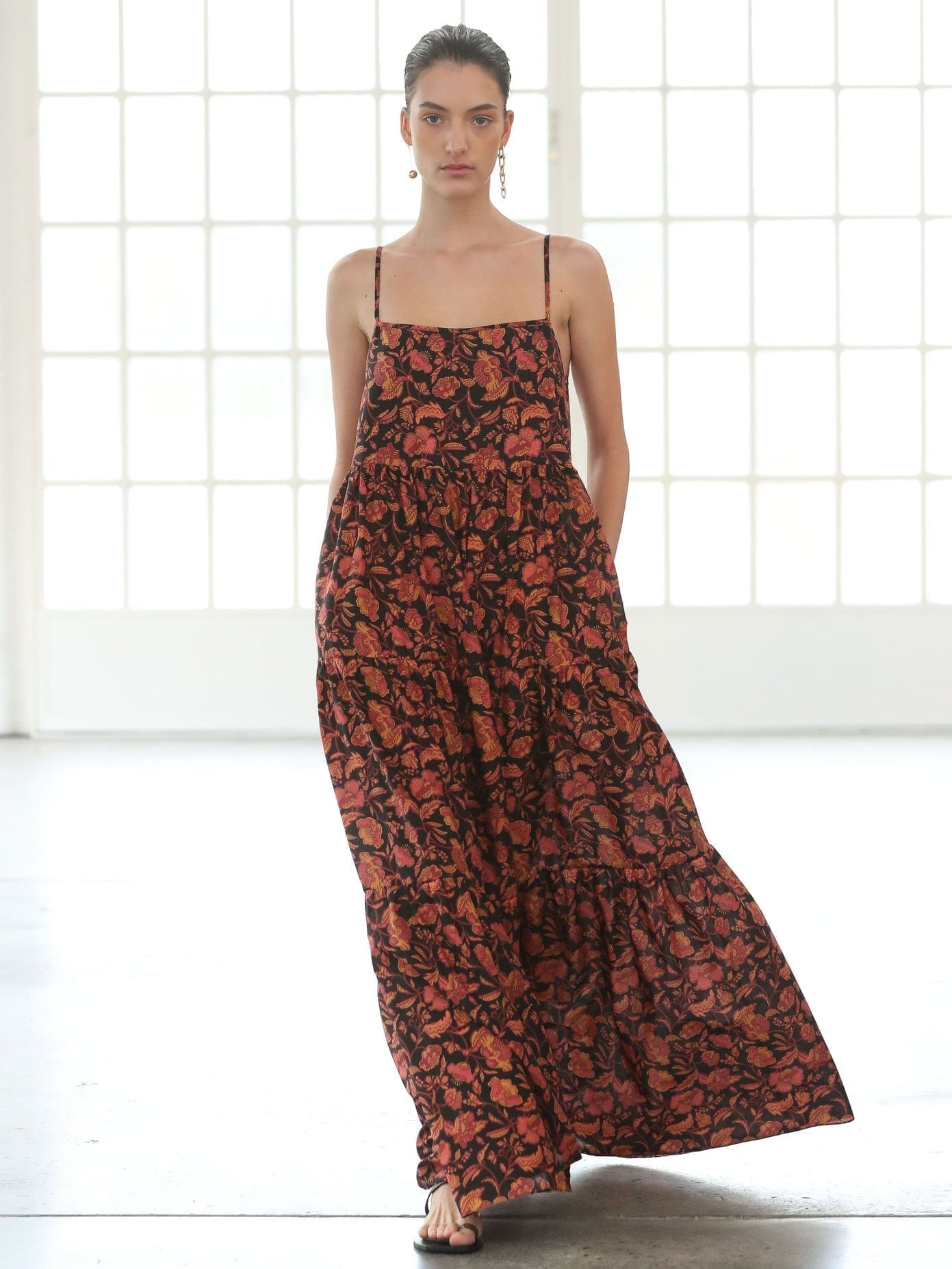 MATTEAU The Tiered Low Back Floral-print Cotton Maxi Dress