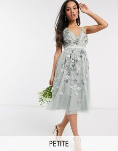 MAYA Petite All Over Floral Embellished Midi Dress