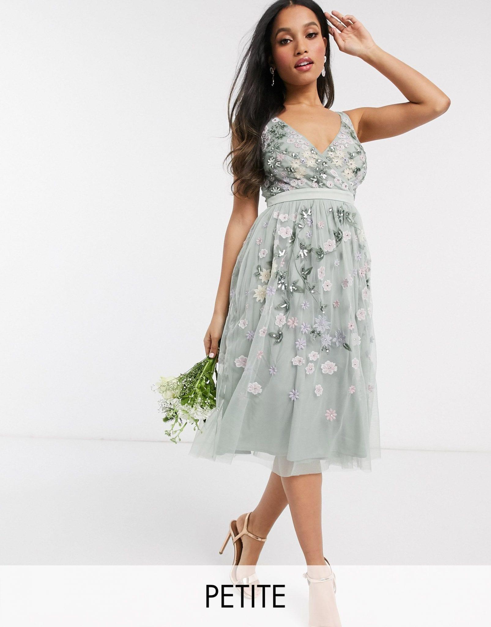 MAYA Petite All Over Floral Embellished Midi Dress