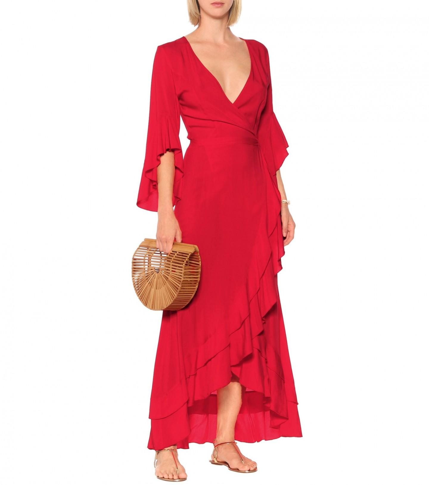 MELISSA ODABASH Cheryl Ruffle Wrap Maxi Dress