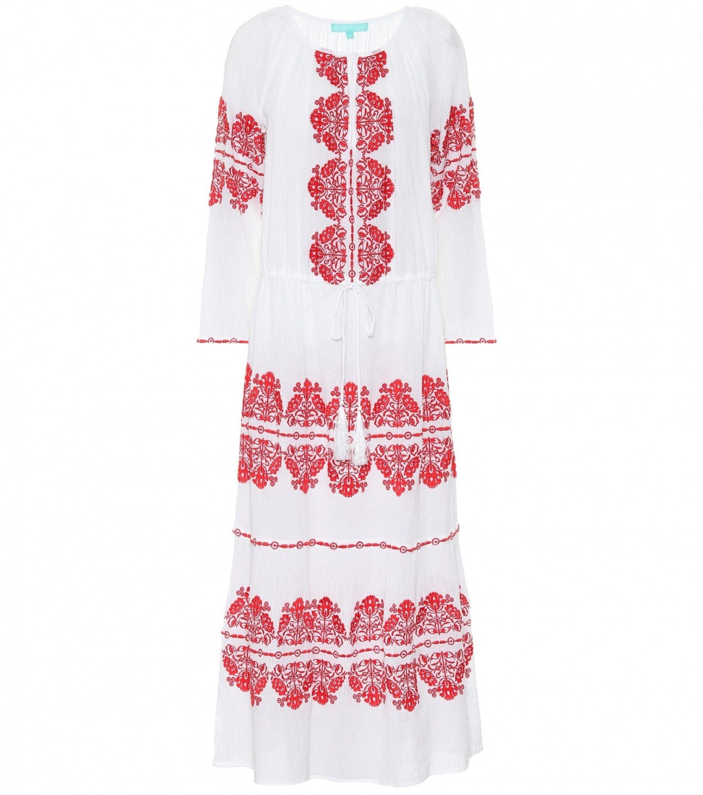 MELISSA ODABASH Lela Embroidered Cotton Kaftan Dress