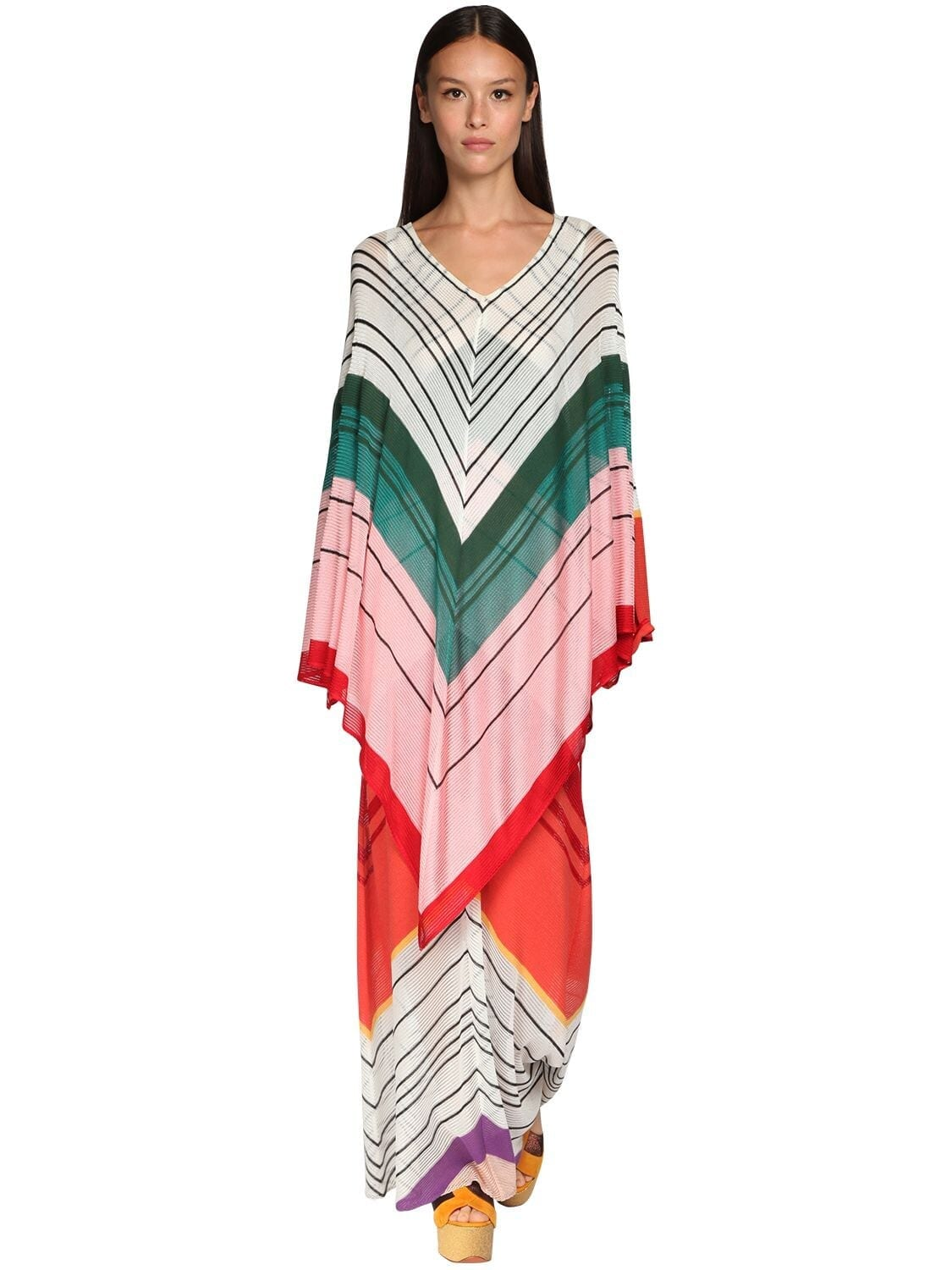 MISSONI Striped Knit Caftan Dress