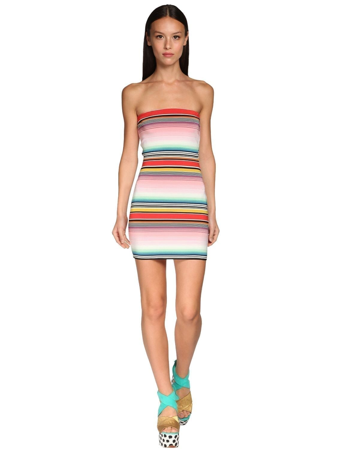 MISSONI Striped Stretch Jersey Mini Dress