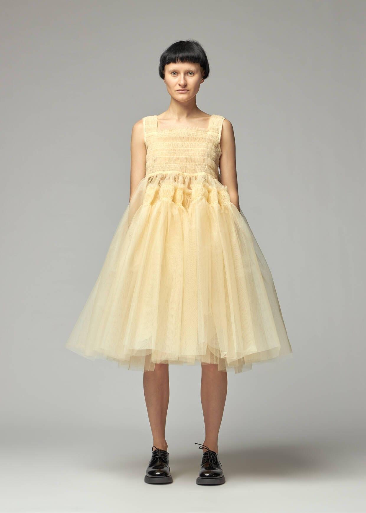 MOLLY GODDARD Jamila Smocked Stiff Tulle Sleeveless Dress