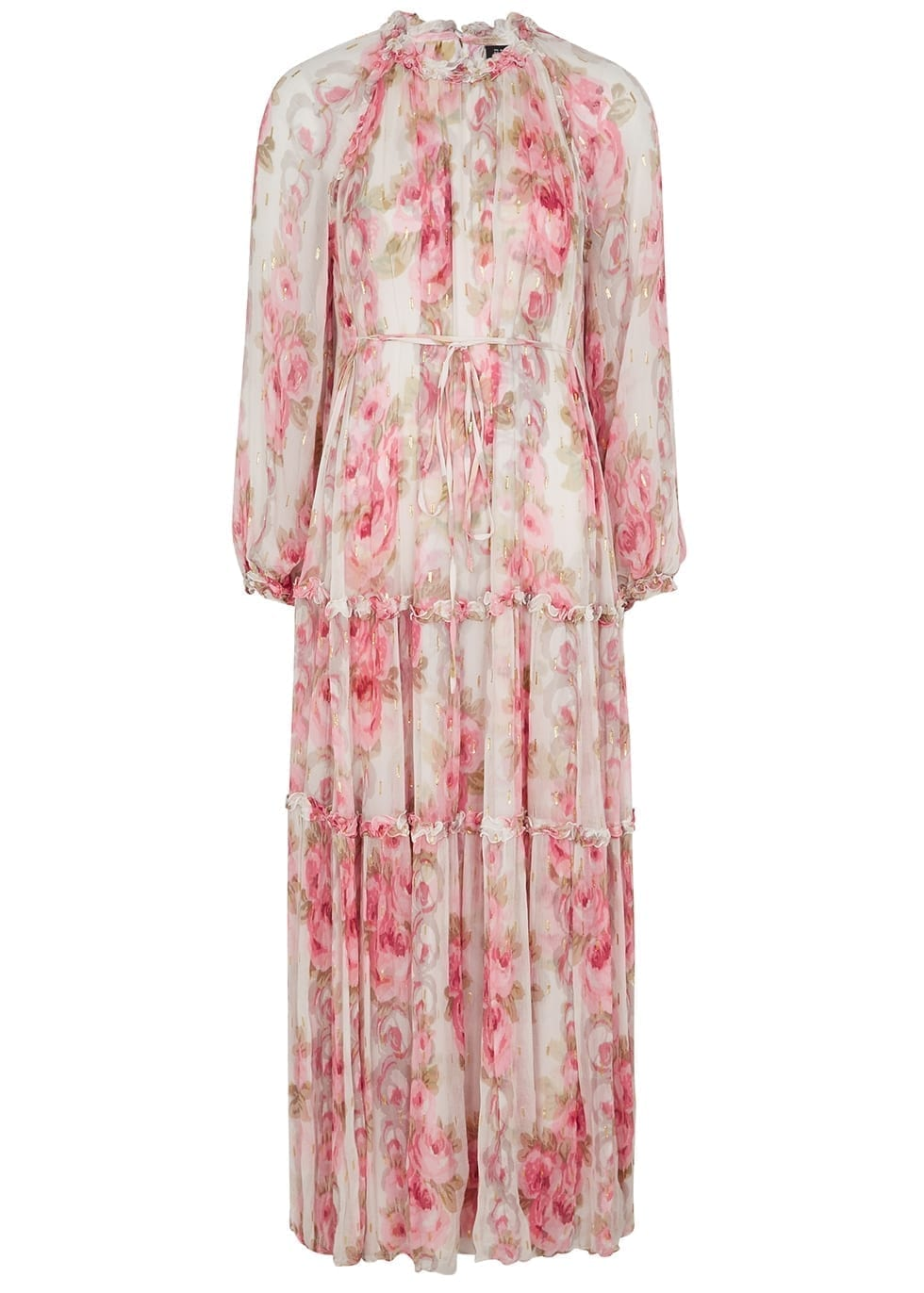 NEEDLE & THREAD Ruby Bloom Floral-print Chiffon Gown