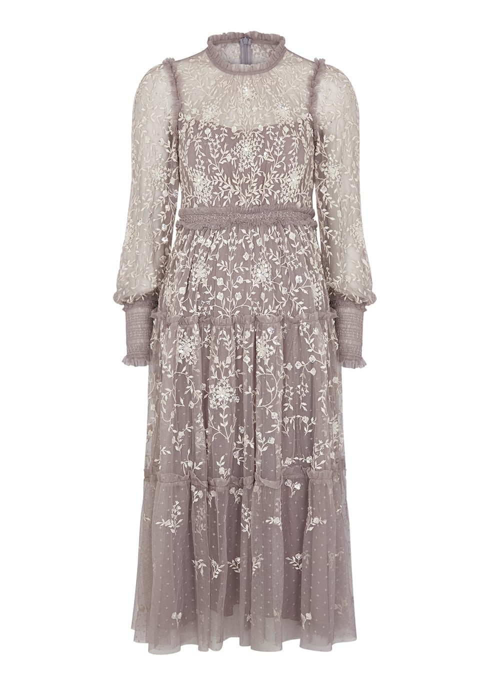 NEEDLE & THREAD Whitethorn Lilac Embroidered Tulle Dress
